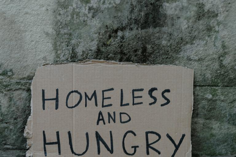 Words 'homeless and hungry' written on a piece of cardboard