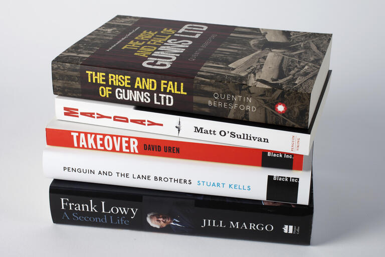 Stack of shortlisted books for the 2015 Ashurst Business Literature Prize