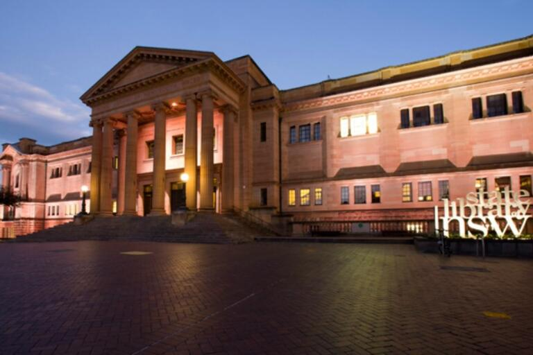 exterior of the Mitchell building of the state library of NSW at sunset