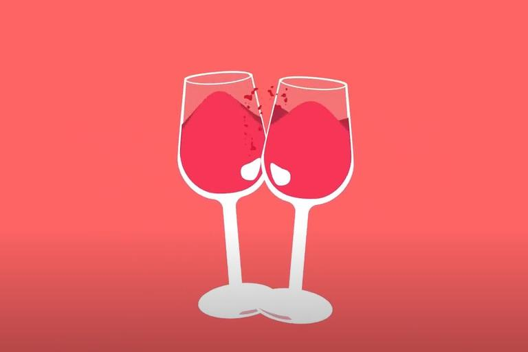 Graphic showing two glasses of red wine