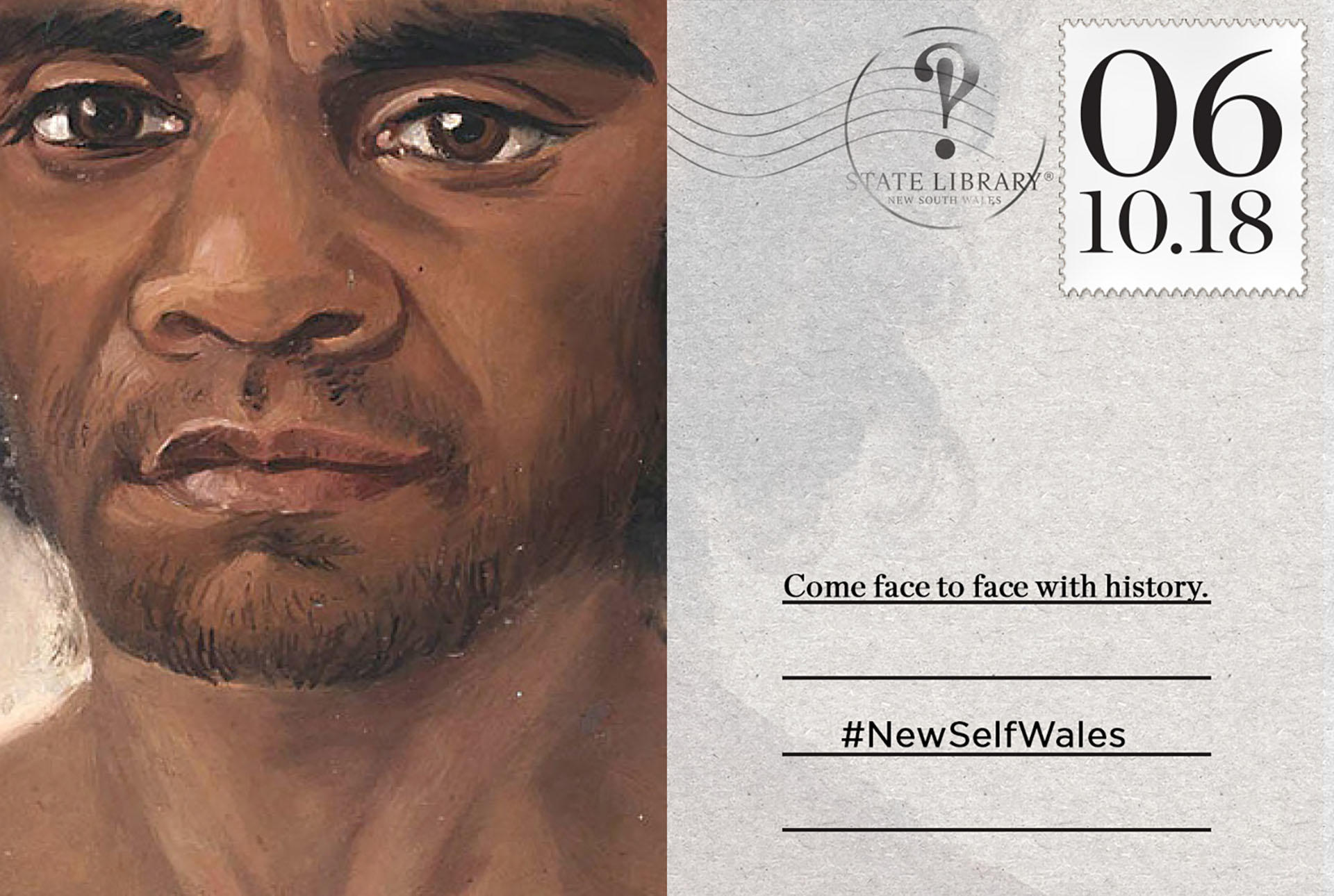 Portrait of indigenous man as a postcard