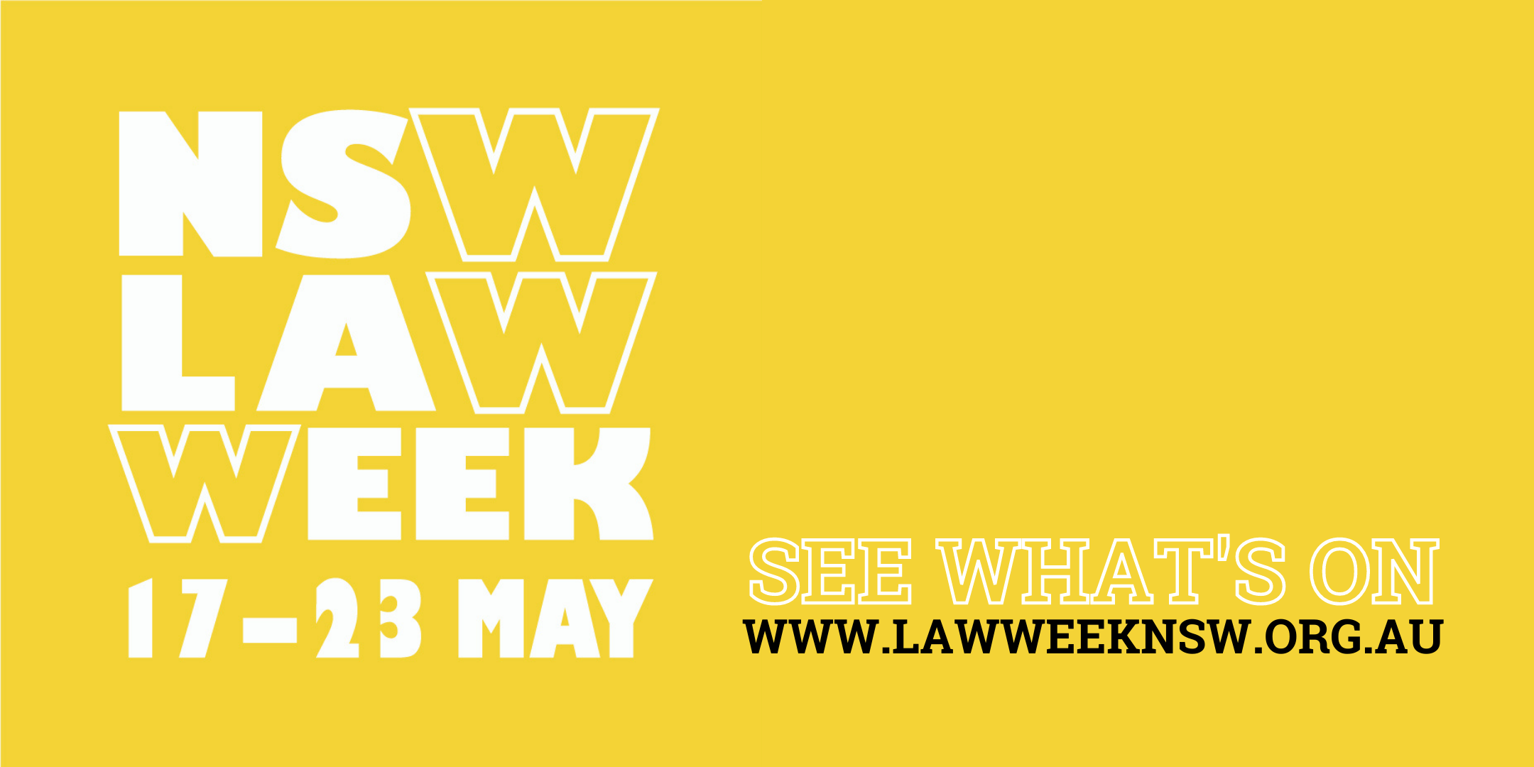 Law Week in white letters on yellow background