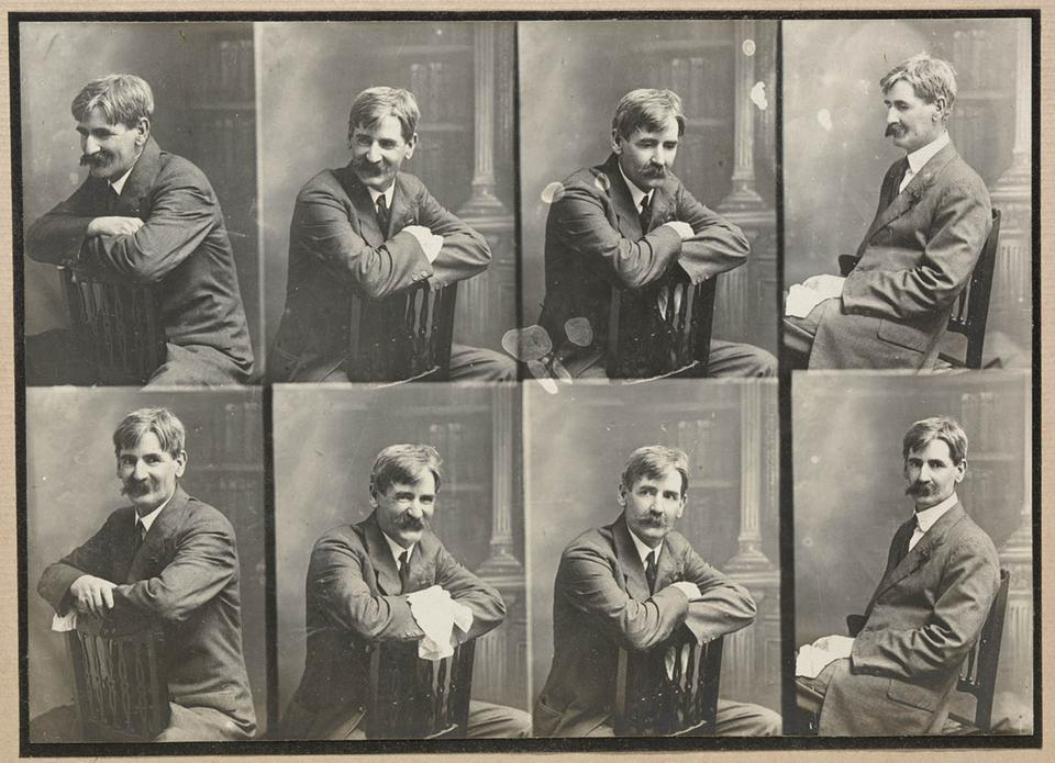 Henry Lawson in a portrait series sitting on a chair