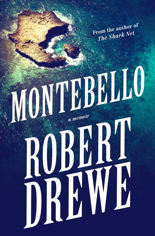 Rocks on coastline of ocean on book cover of Montebello a memoir by Robert Drewe