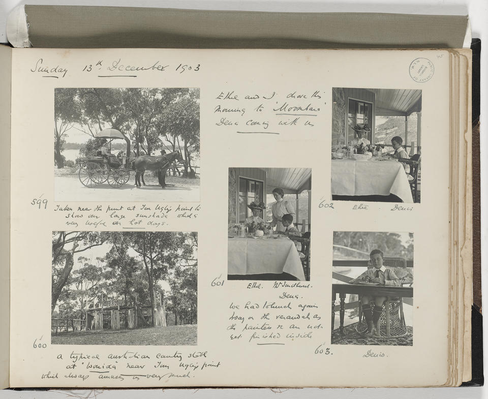 Photograph of a page of a photo album