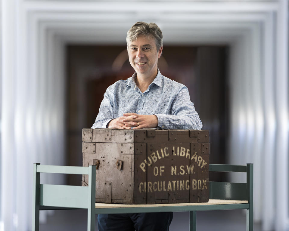 Cameron Morley with the Public Library of NSW Circulating Box