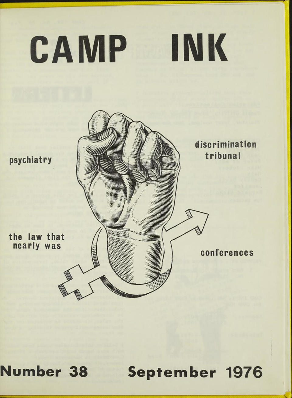 The front page of publication Camp Ink from September 1976