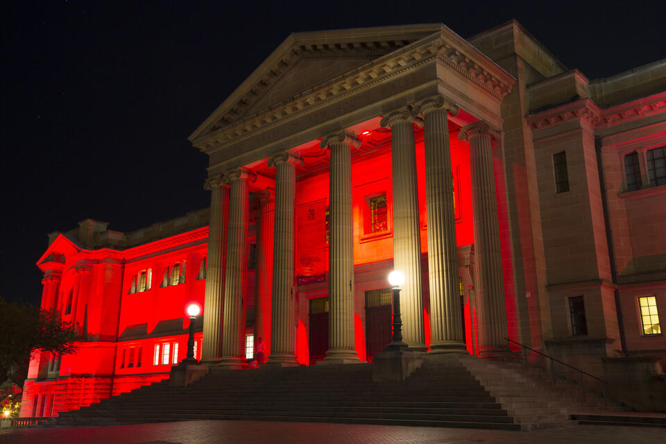 Entrance to the Vestibule / Exterior of the Mitchell Building at night