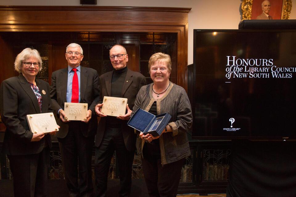 2016 Library Honours Recipients Jennefer Nicholson, Robert Bain, John Bell and Kathleen Bresnahan