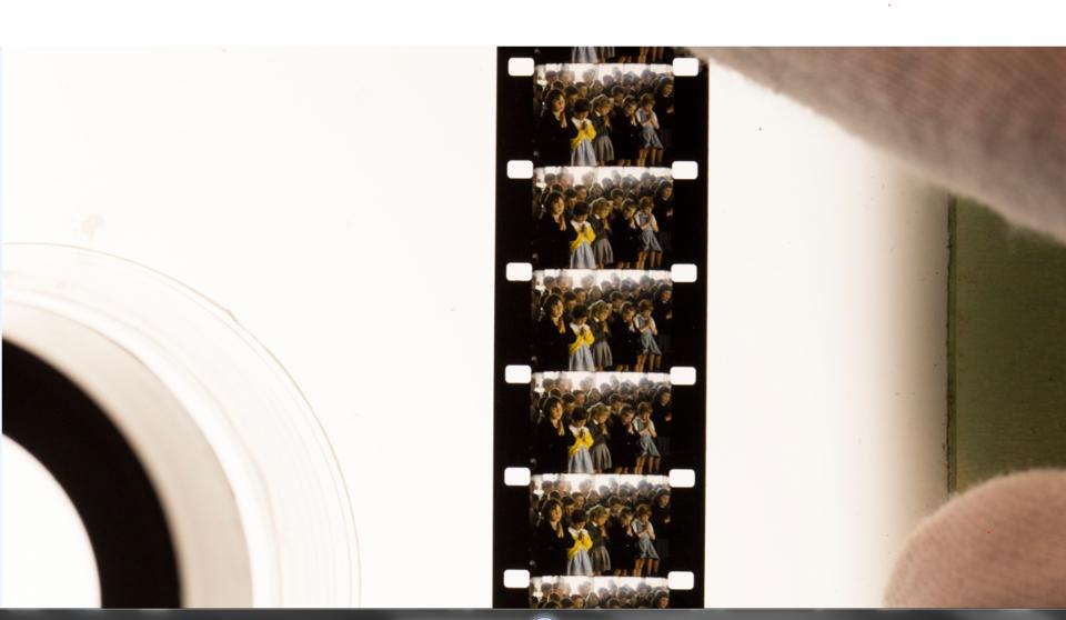 close up of colour film frame