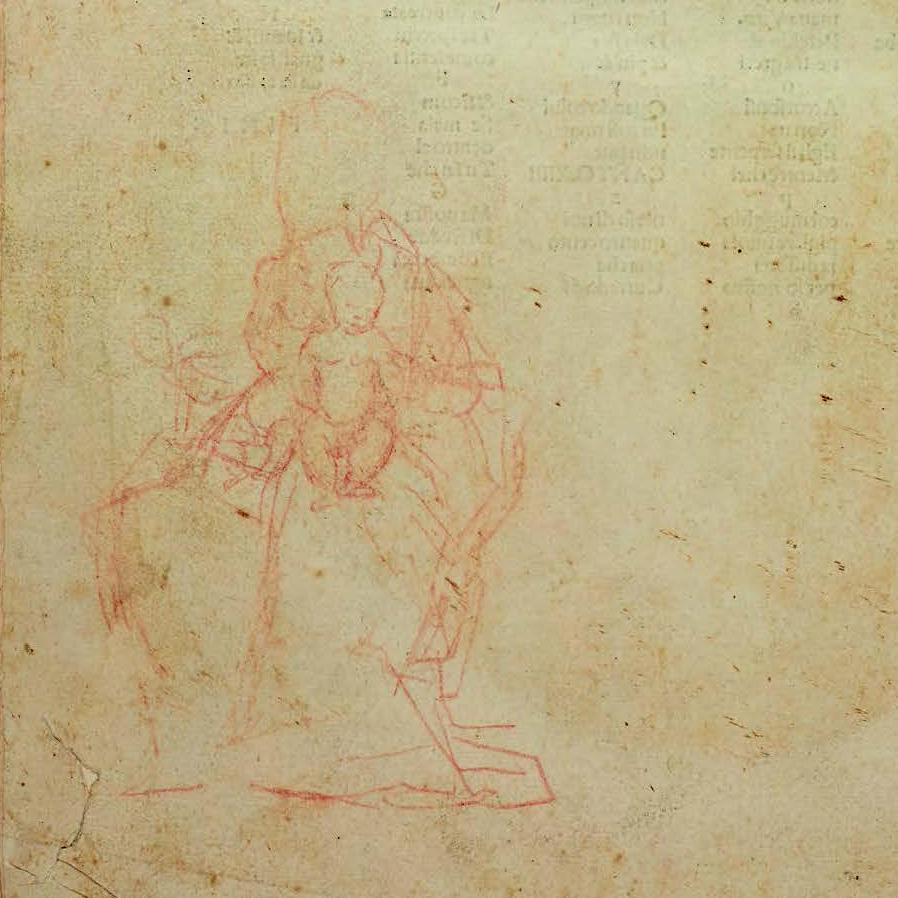 A rough outline sketch in red pencil of a robed woman holding an infant.