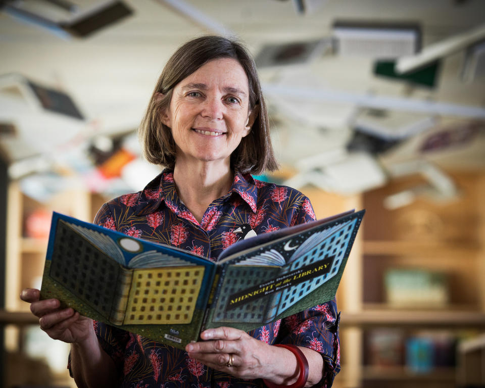 Author Ursula Dubosarsky in the Children's Library of the State Library of NSW