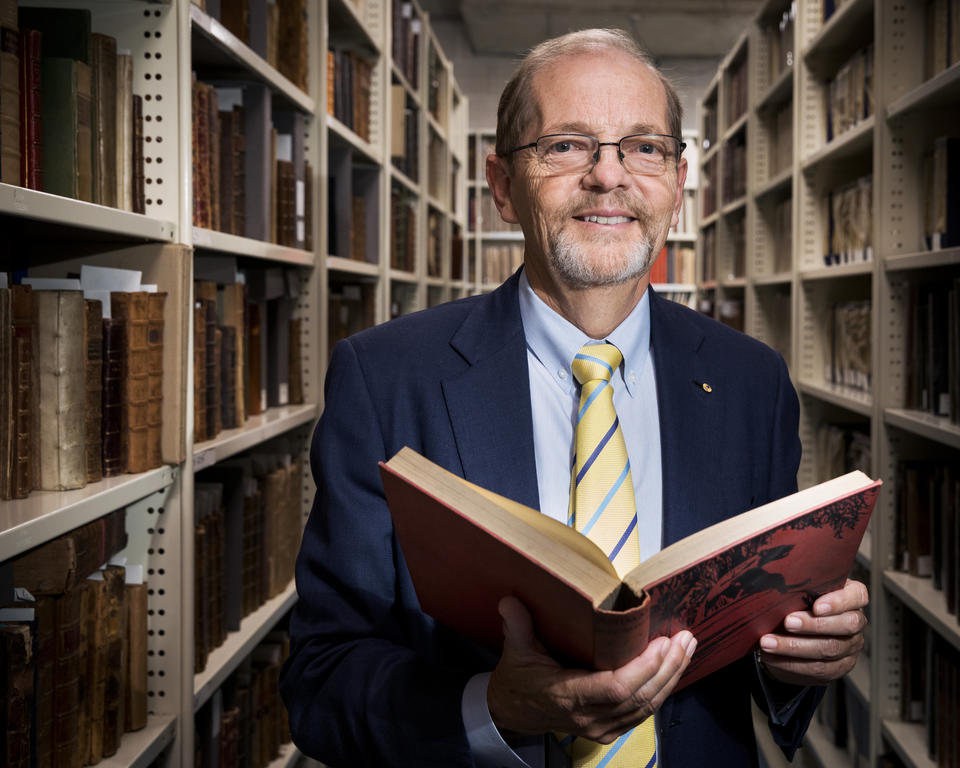 Robert Cameron in the Rare Book stack of the State Library of NSW