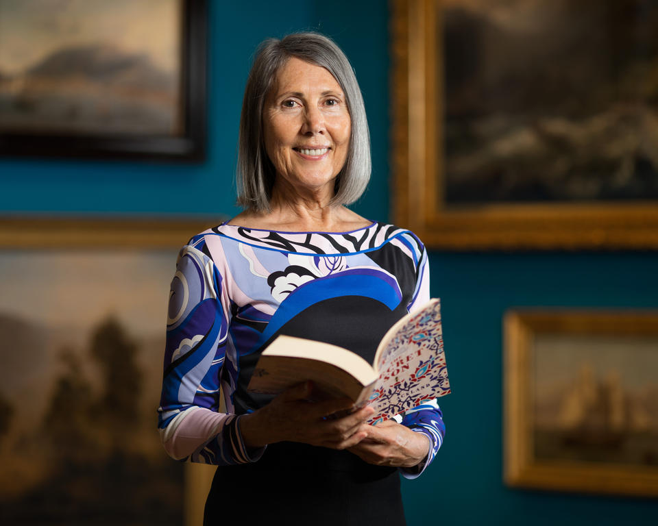 Kerryl Collard photographed in the Paintings gallery for the Library Council