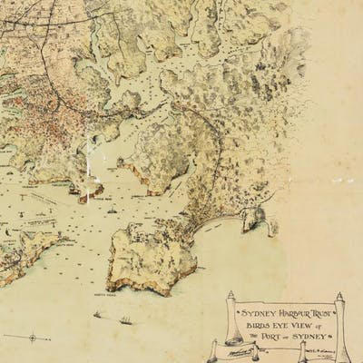 "A sketched map titled ""Birds eye view of the Port of Sydney""."