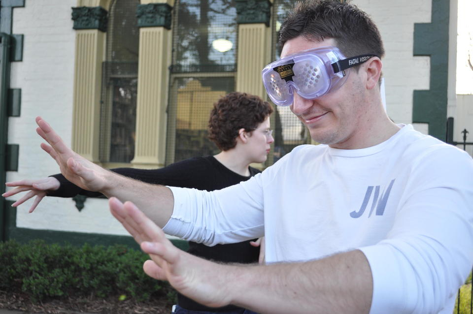 Man using beer goggles