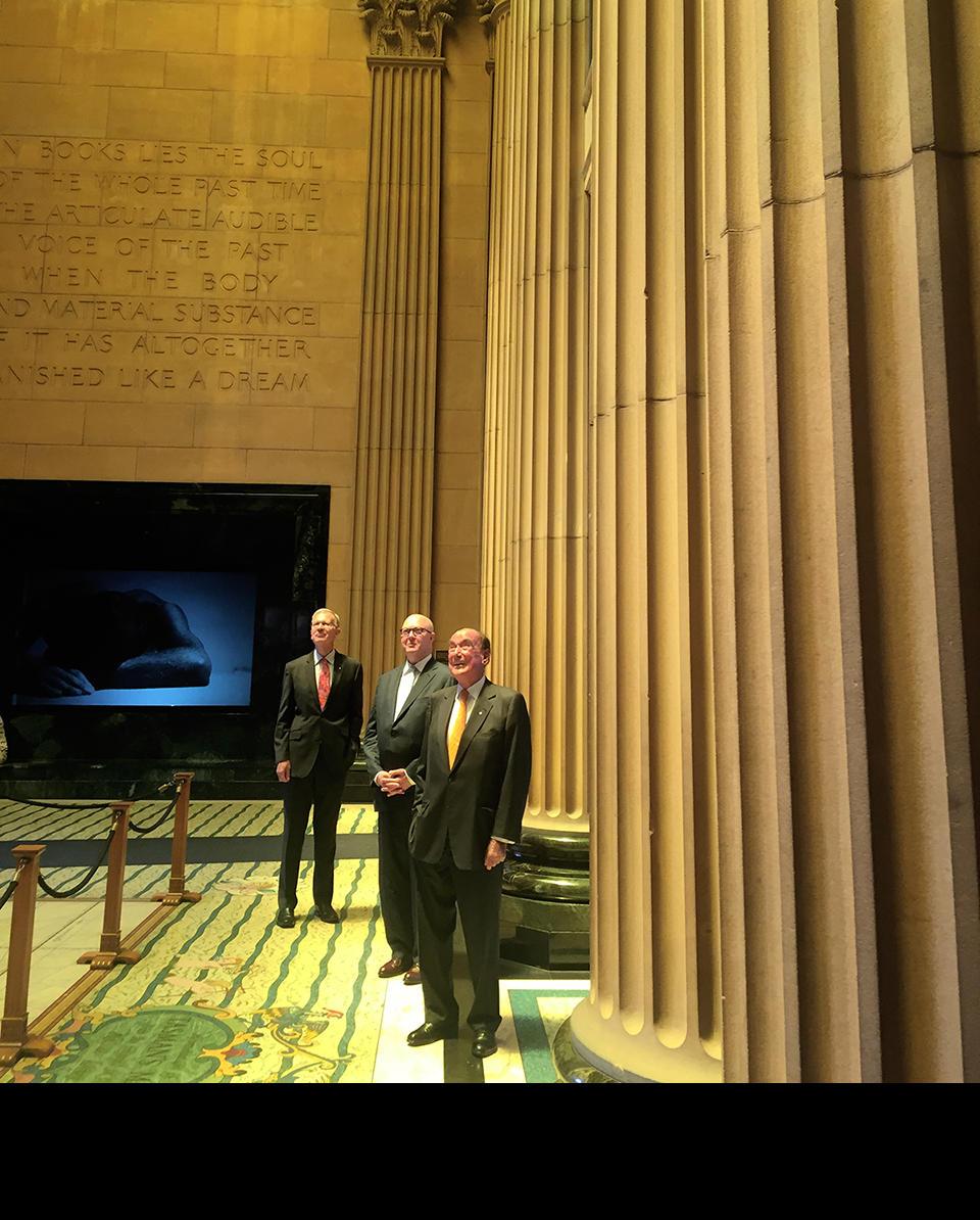 Mitchell Gallery donors admiring Vestibule