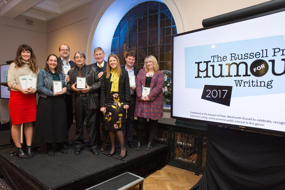 The shortlisted authors for the 2017 Russell Prize with Rachel Hill, goddaughter of Peter Russell