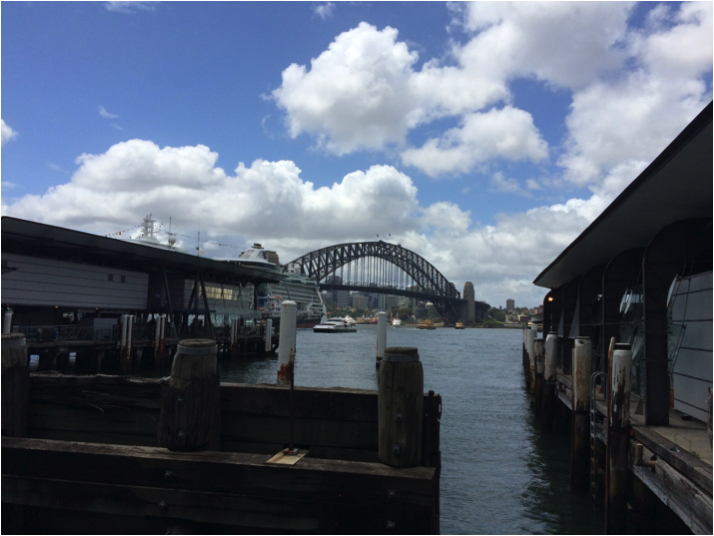 Circular Quay buildings with Harbour Bridge in background