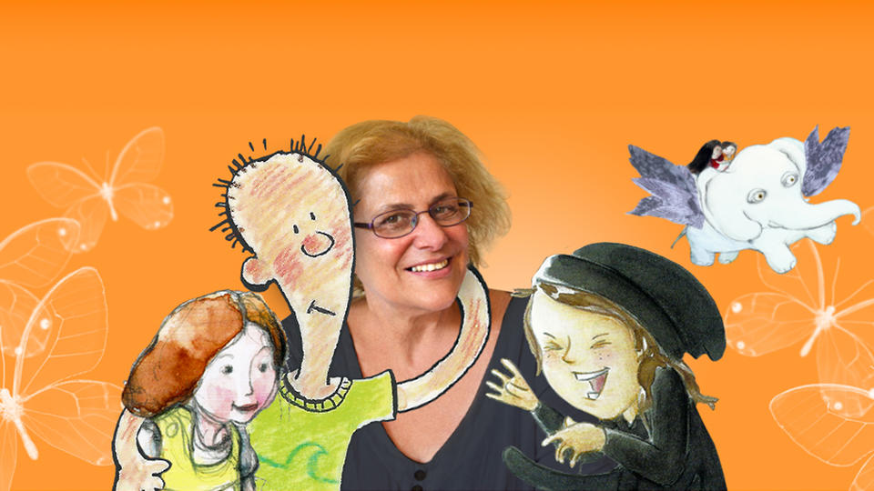 A woman with animated children
