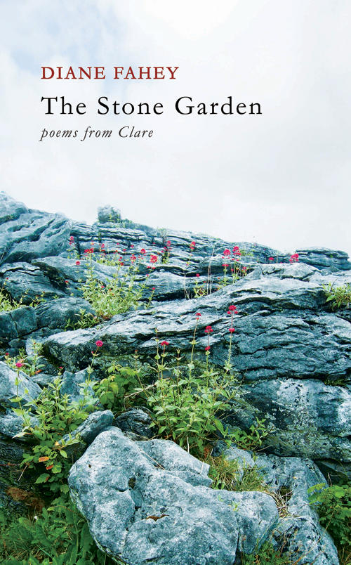 Stone garden on book cover of The Stone Garden poems from Clare by Diane Fahey