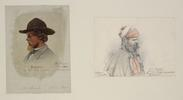 Two side view drawings of men with beards