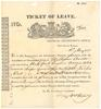 Old document with text and coat of arms at top titled Ticket of Leave  for a Mr William Anson