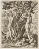 Black and white engraving of a naked man and woman reaching to pick and apple from a tree.