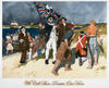 A painting of Captain Cook on the shore with his crew, one of whom is waving a Union Jack with the Jolly Roger painted over it.