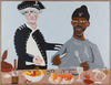 A painting of Captain Cook and an Aboriginal man at a feast together.