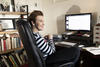 Kate Mulvany at her desk at home in Sydney, photo by Joy Lai