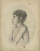 Historical pencil drawing, profile of a young Aboriginal man from Sydney.