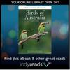 Birds of Australia book cover with indyreads promotion