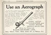 A newspaper advertisement for an Aereograph, with a drawing of the implement, dated 1920