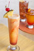 An orange and red drink in a tall glass with a garnish of pineapple