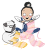 An illustration of children's book characters Evie and Pog knitting