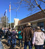 Crowd outside Merriwa Library