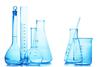 Line of blue science beakers on a white background