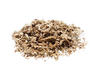 Small pile of dried spice leaves on white background