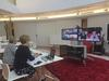 Author LIbby Hathorn conducting a video conference at the State Library