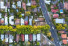 Aerial view of houses in a suburb