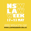 Logo, words Law Week on yellow background