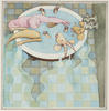 A man is sitting in a bath with a wombat, goat and kangaroo and the water is overflowing onto the floor