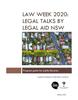 Cover of Law Week legal talks program guide showing an aerial view of a suburb