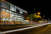 External street view at night with library building
