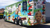 Mobile library truck with pictures of children and books