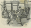 drawing of two men sitting in train