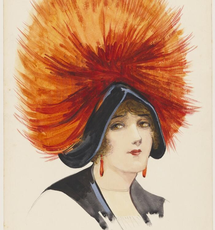 Drawing of woman with large fuzzy hat