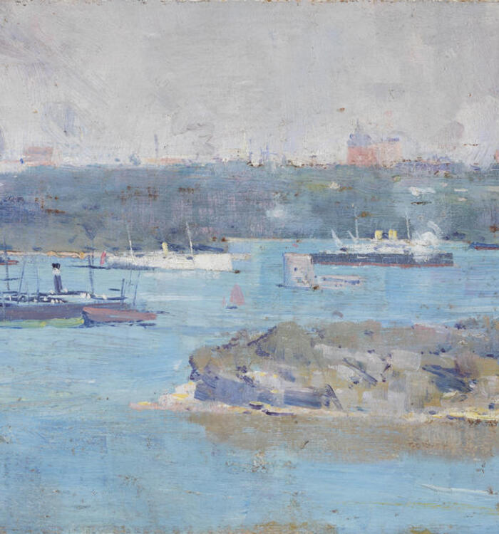 Oil painting. Panoramic scene of a harbour.