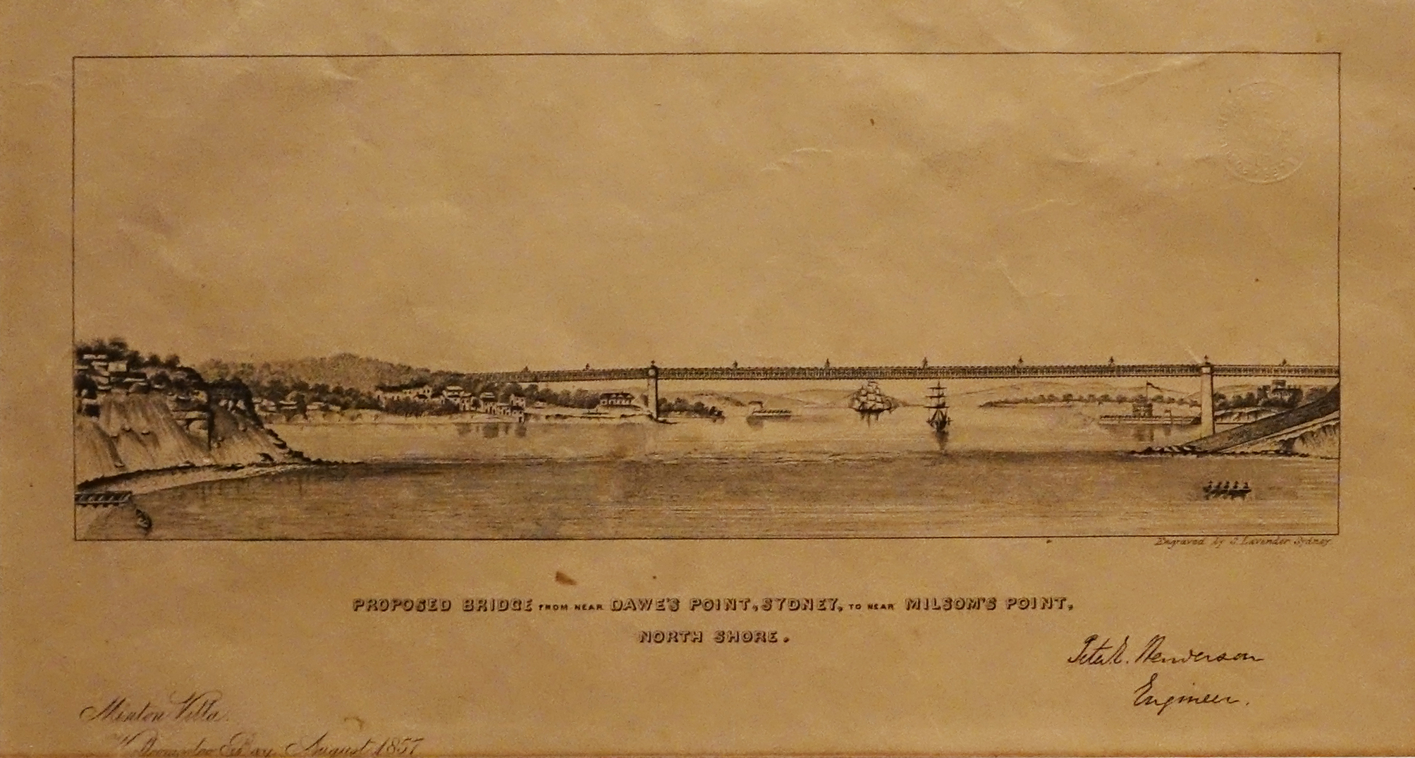 An engraving of a bridge spanning two land masses.